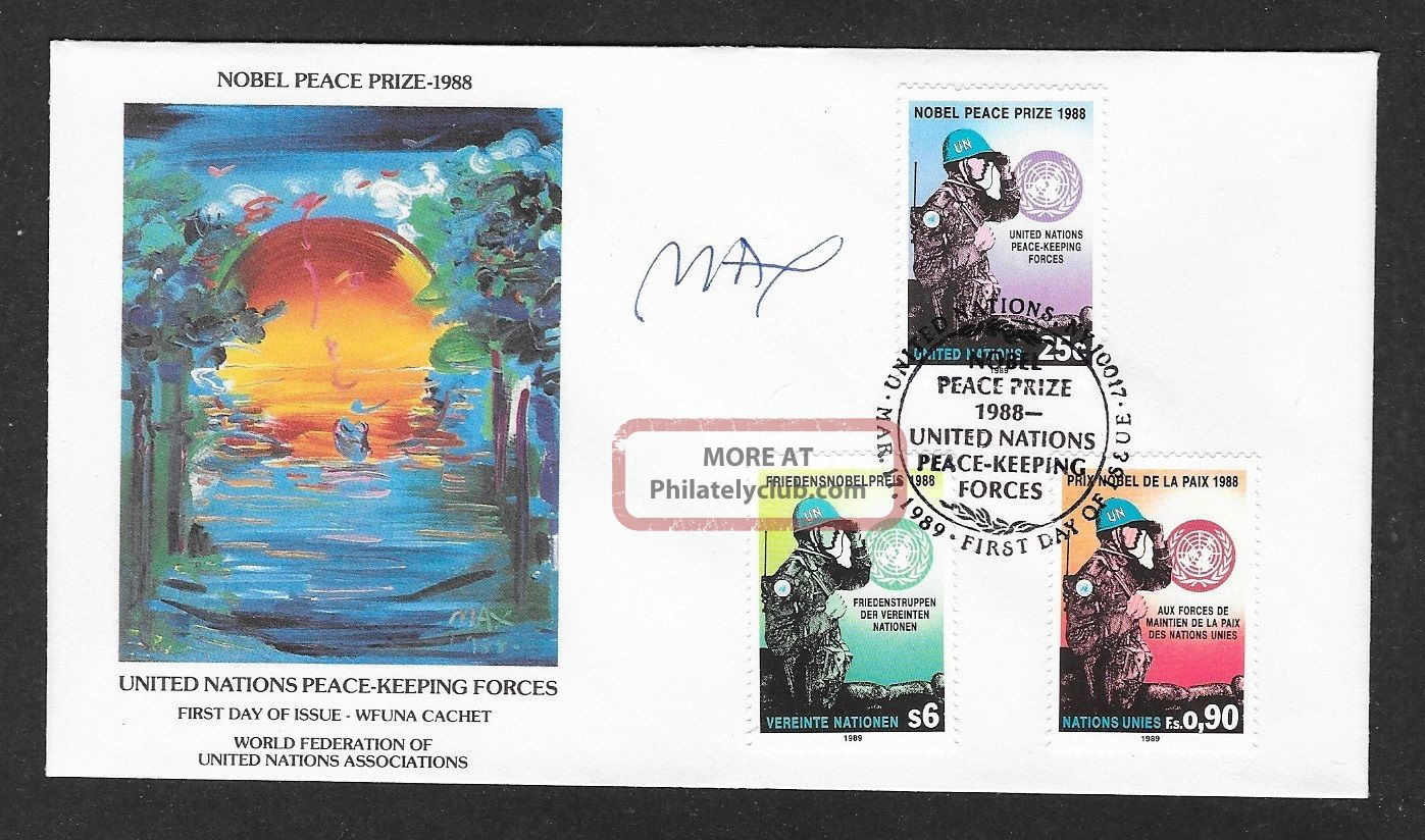 Peter Max In Person Signed Wfuna Cachet Fd Cover March 17,  1989 Worldwide photo