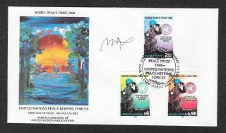 Peter Max In Person Signed Wfuna Cachet Fd Cover March 17,  1989 photo