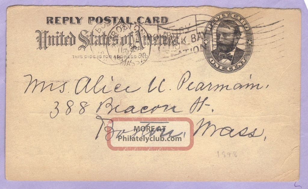 Us Stationery Reply Pc One Cent 1899 Worldwide photo