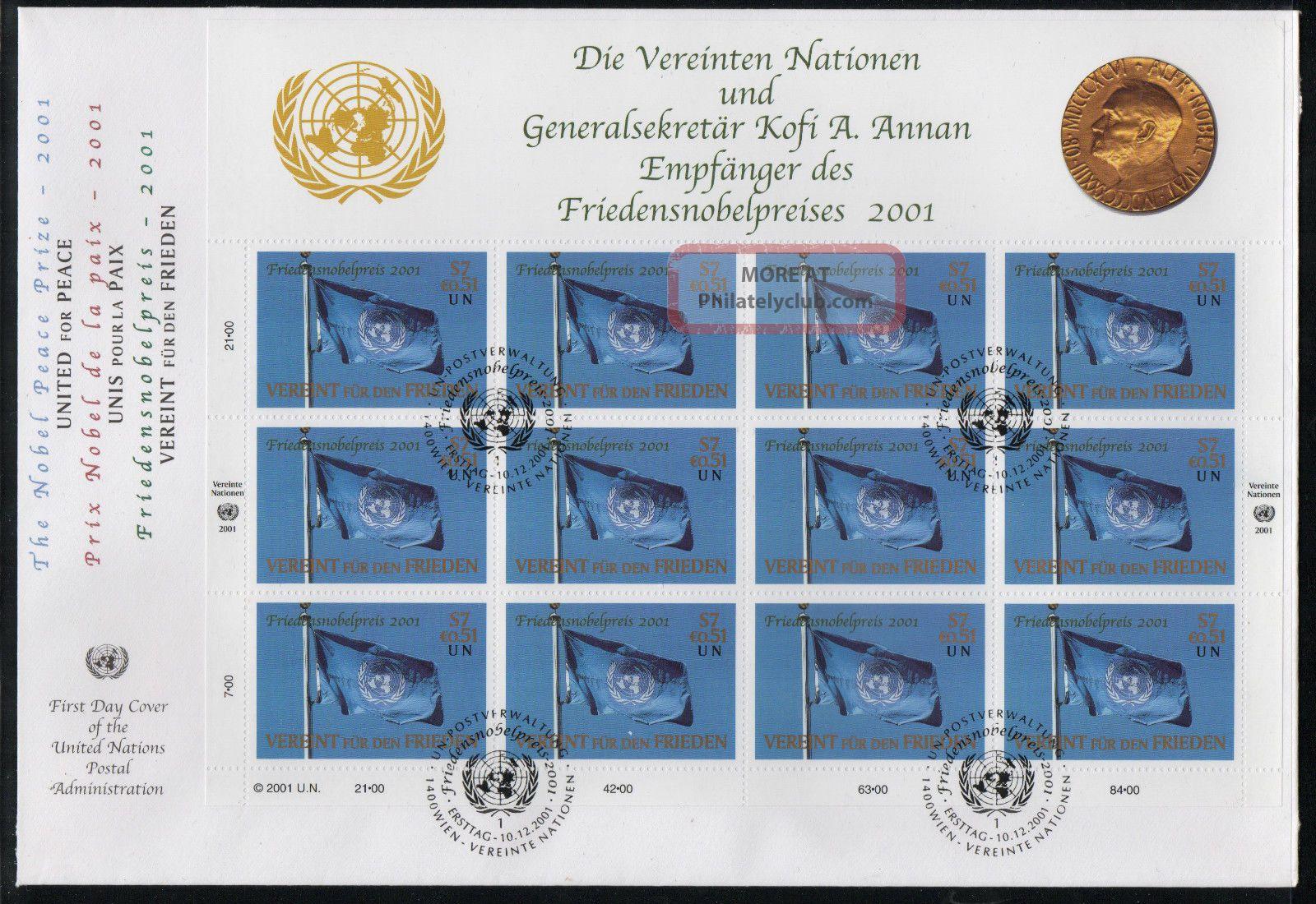 2001 United Nations (vienna) Kofi Annan Winner Nobel Peace Prize M/sheet Fdc Worldwide photo