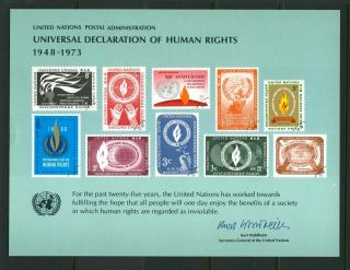 United Nations 1973 Souvenir Card Declaration Of Human Rights photo