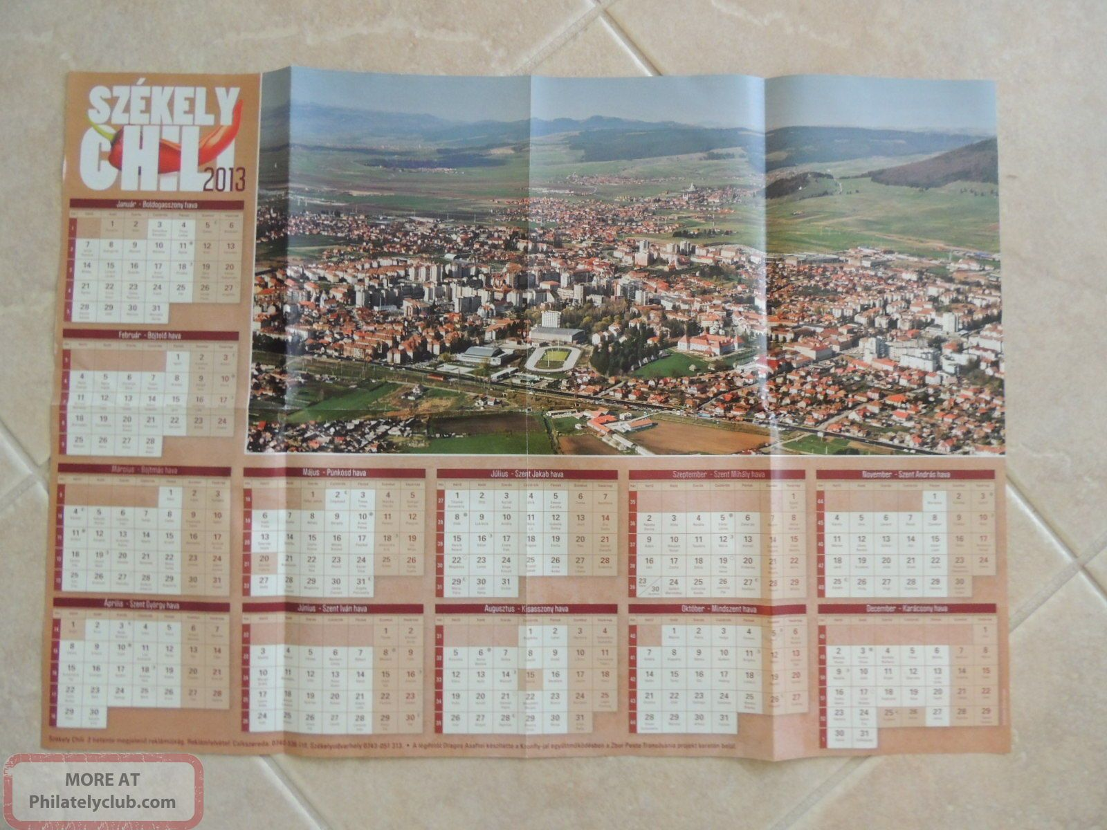 Szekelyudvarhely 2013 Kalendarium City View,  With Name Days, Worldwide photo