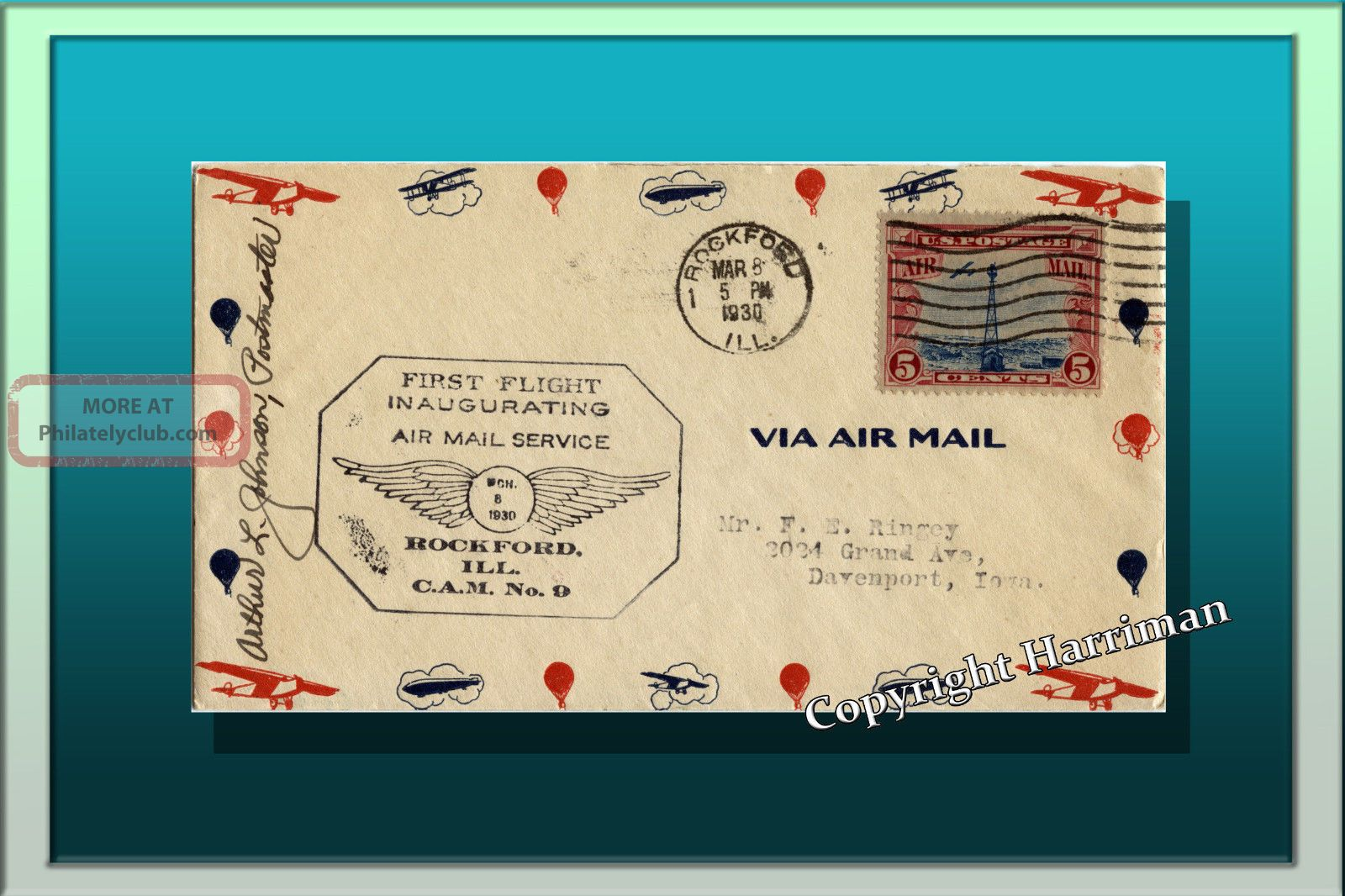 1930 Inaugurating Air Mail Service From Rockford Ill To Davenport Iowa Rare Worldwide photo