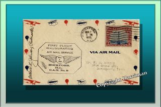 1930 Inaugurating Air Mail Service From Rockford Ill To Davenport Iowa Rare photo