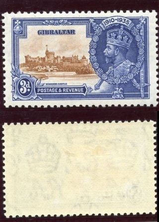 Gibraltar 1935 Kgv Silver Jubilee 3d Brown & Deep Blue Error Mlh.  Sg 115b. photo