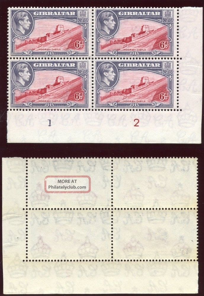 Gibraltar 1938 - 51 Kgvi 6d Carmine & Grey - Violet Plate Block Of 4.  Sg 126b. British Colonies & Territories photo