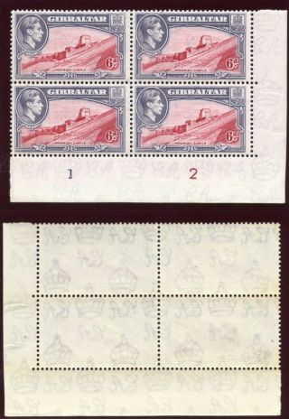 Gibraltar 1938 - 51 Kgvi 6d Carmine & Grey - Violet Plate Block Of 4.  Sg 126b. photo
