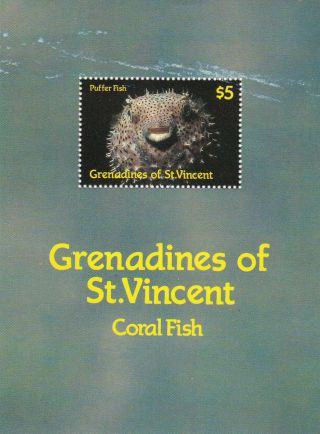 (22584) Grenadines St Vincent - Puffer Fish Minisheet photo