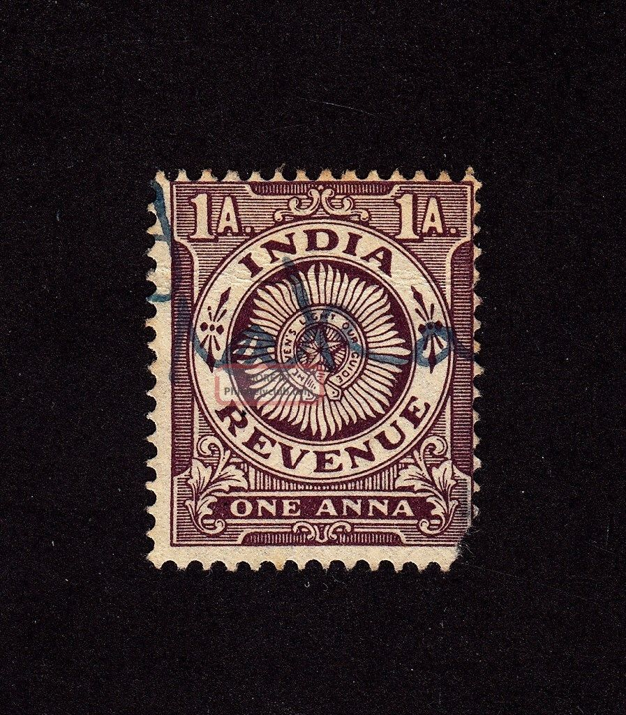 India Revenue Stamp - - Pen Cancellation - Wmk.  196 British Colonies & Territories photo