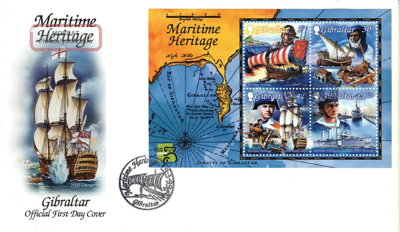 Gibraltar 1999 Maritime Ship Stamp Mini Sheet First Day Cover Ref:cw254 British Colonies & Territories photo