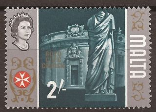 1965 Malta 2s Error Flaw Variety - Unlisted - Gold (centre) Offset - Sg343 photo