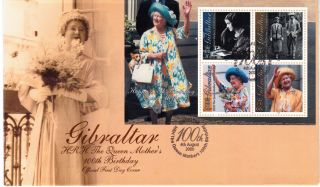 Gibraltar 2000 Queen Mother Mini Sheet First Day Cover Ref:cw259 photo