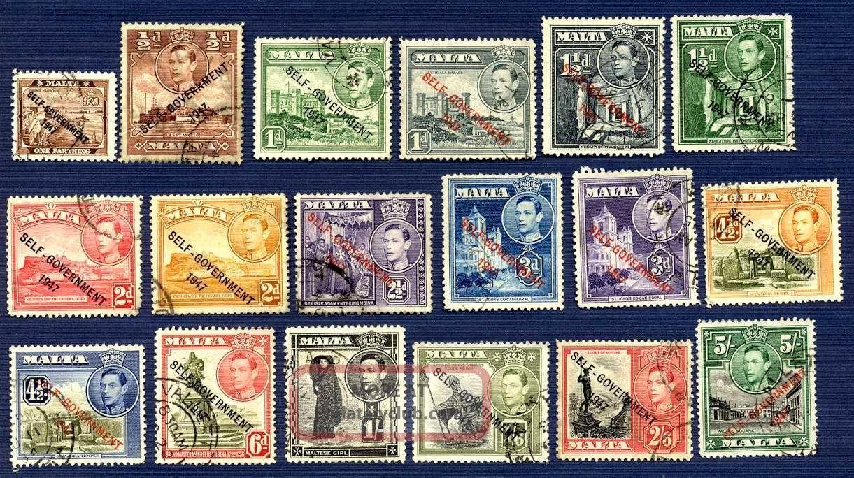 Malta 208/221,  235/240 - Self Gov ' T Overprint - Group Of 18 - British Colonies & Territories photo