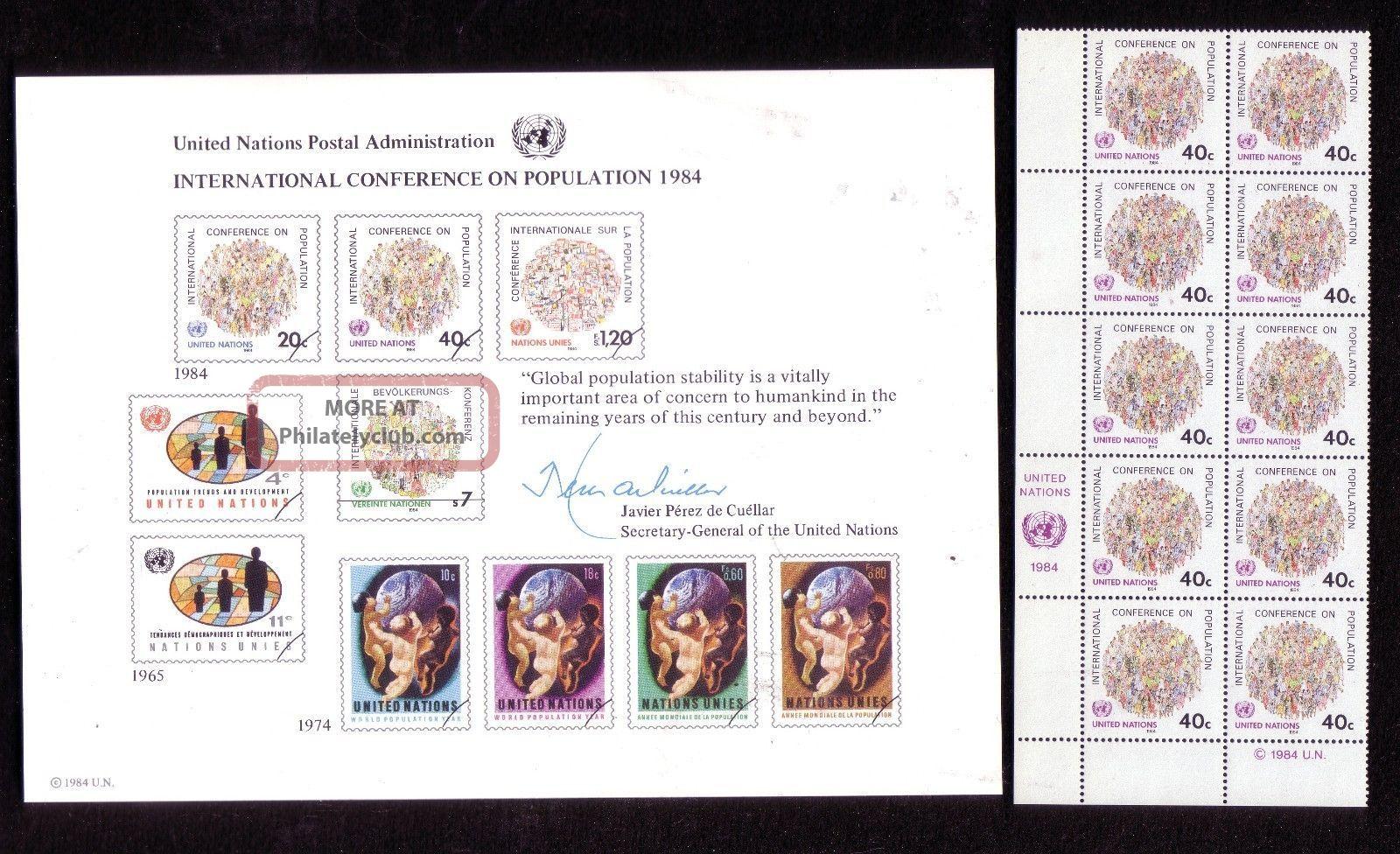 Sc25 418 Intl.  Conf.  On Population 1984 Un Souvenir Card Block 10 Forty Cents Worldwide photo
