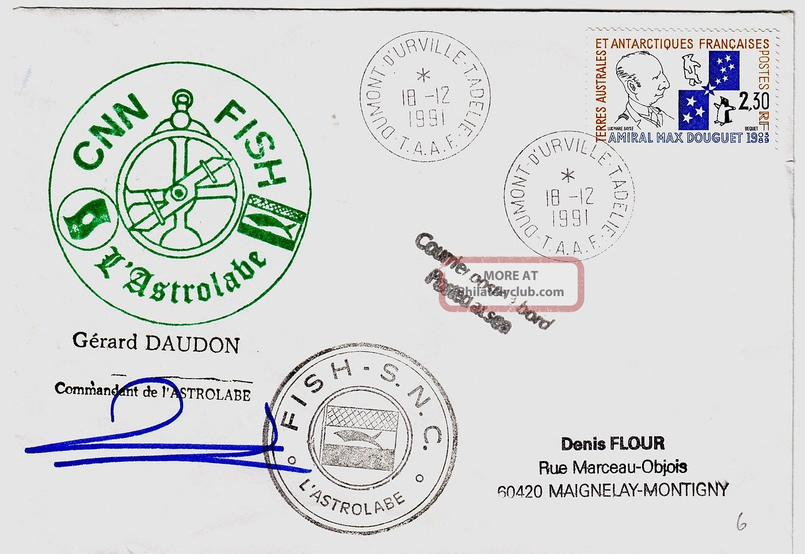 French Antarctic Territory 1991 Cnn Fish L ' Astrolabe Official Signed Cover Worldwide photo