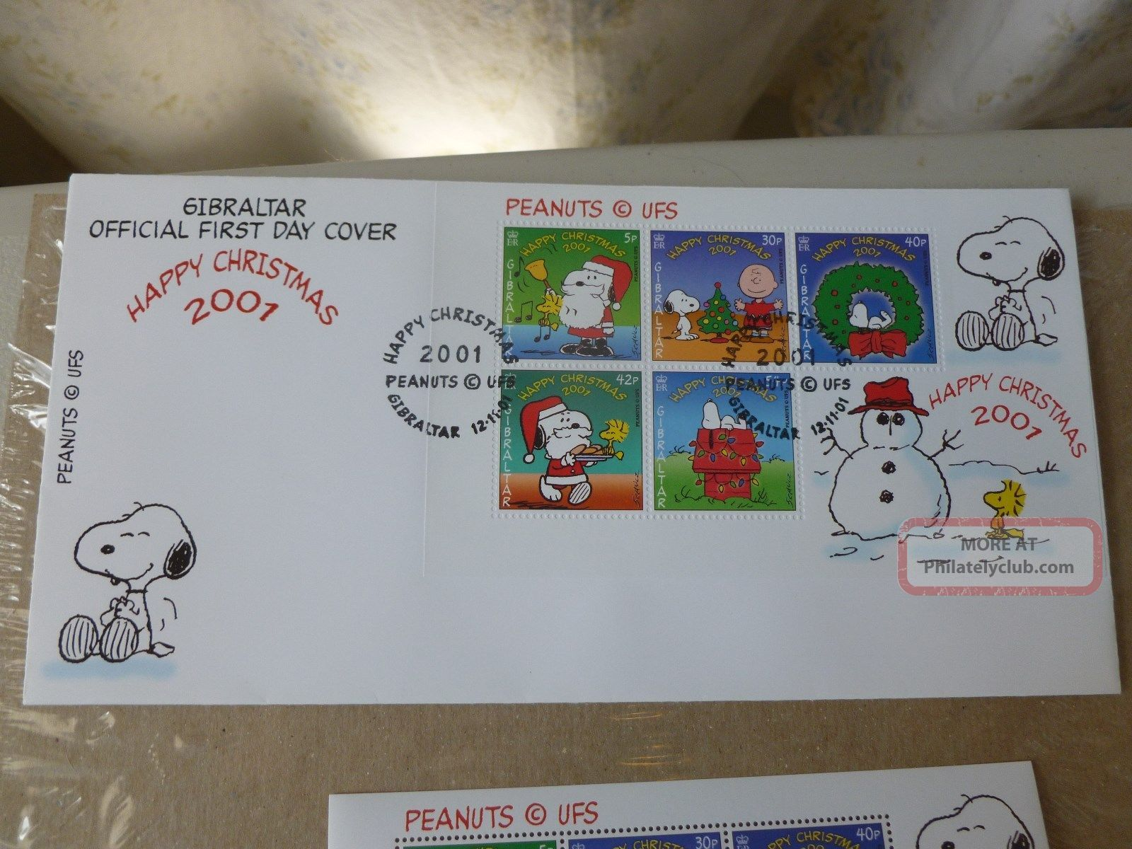 Peanuts 1st Day Cover Gibraltar Happy Xmas Fleetwood 2001&6 Gibraltar Stamp Rare Worldwide photo