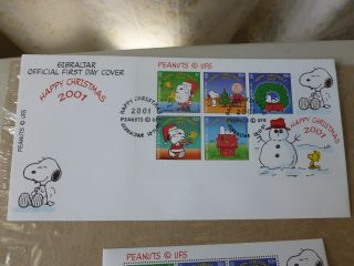 Peanuts 1st Day Cover Gibraltar Happy Xmas Fleetwood 2001&6 Gibraltar Stamp Rare photo
