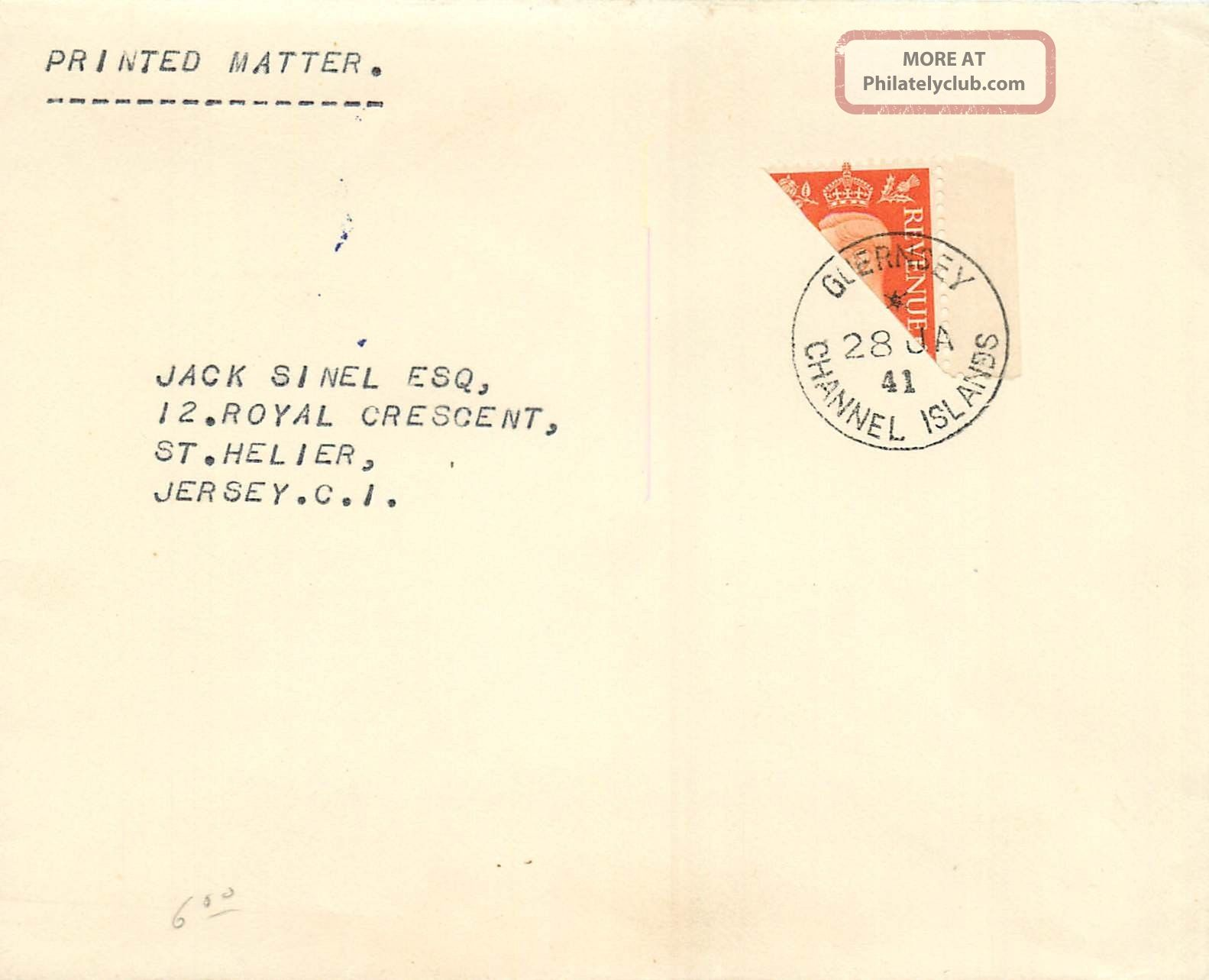 Great Britain 1941 Cover Sg 465b 2d Bisect - Wwii Local Post - Guernsey Worldwide photo