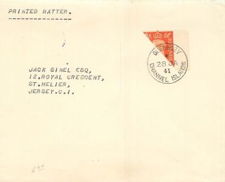 Great Britain 1941 Cover Sg 465b 2d Bisect - Wwii Local Post - Guernsey photo