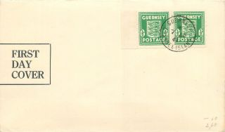 Great Britain / Guernsey 1941 First Day Cover Wwii Occupation Sg 1 - 1/2d Pair photo