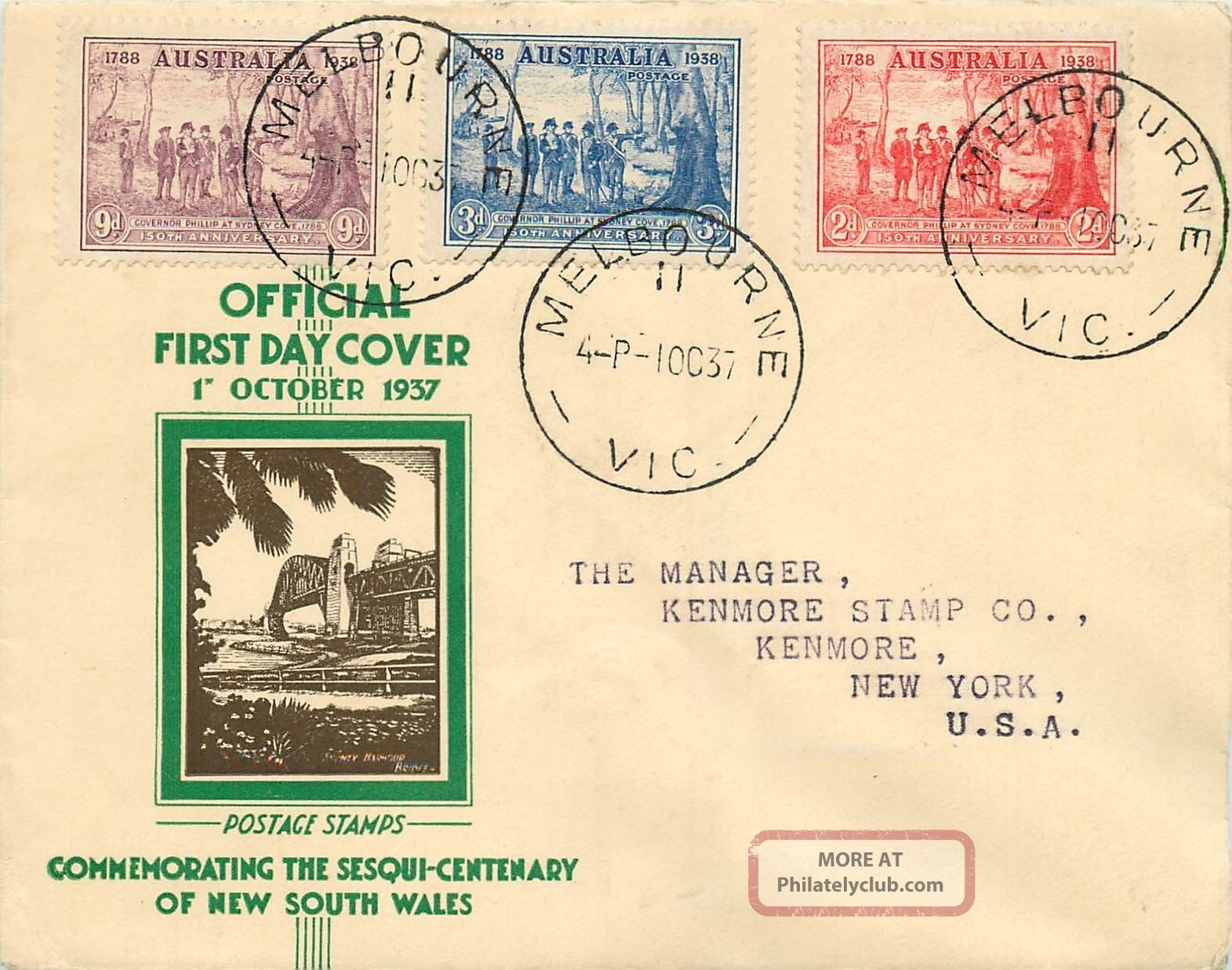 Australia - 1937 Cacheted First Day Cover Sg 193 - 195 Nsw 150th Anniversary Worldwide photo