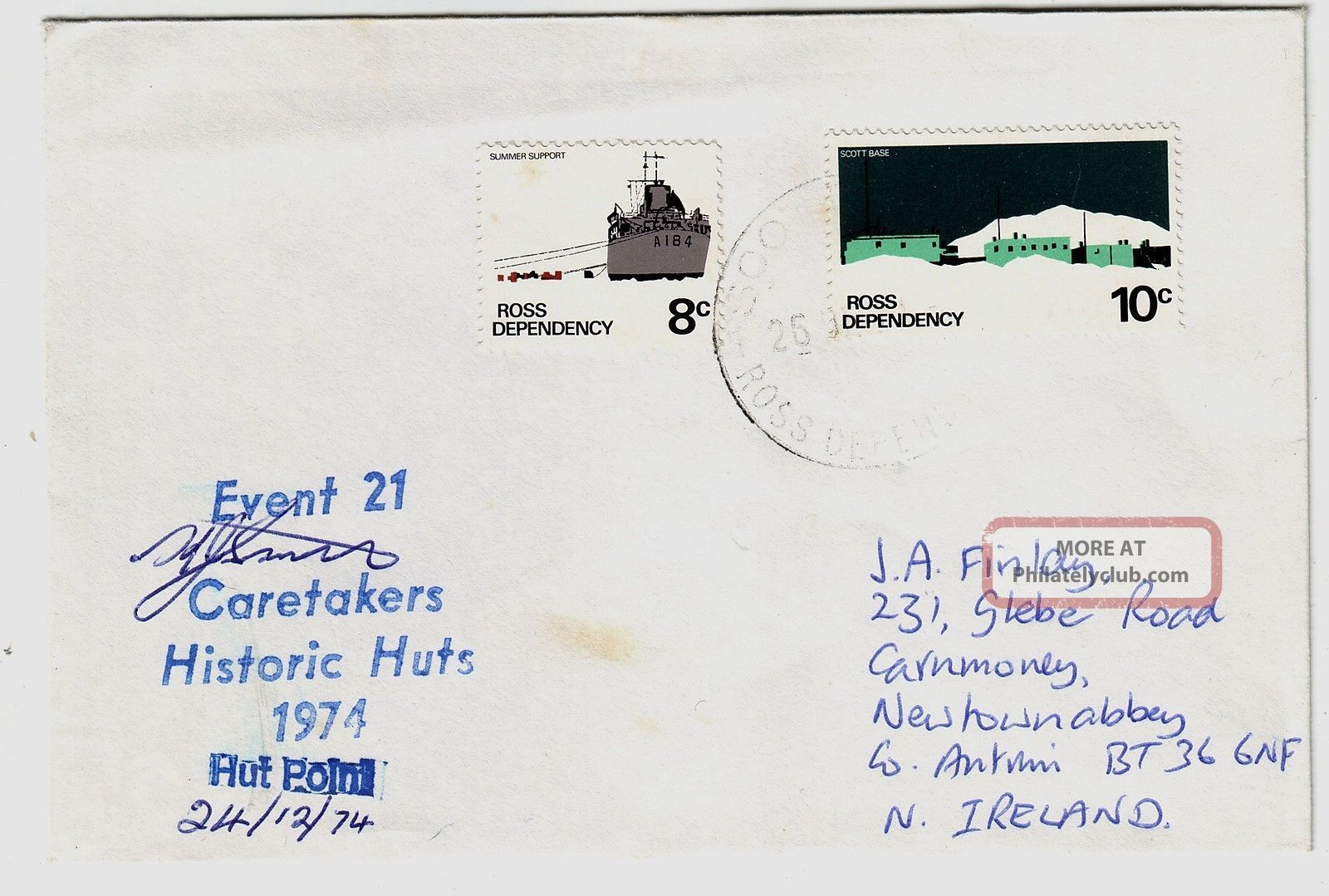 Ross Dependency 1974 Antarctic Histric Huts Restoration Official Signed Cover Worldwide photo